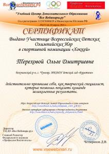 Сертифекат Тереховой Ольге Дмитриевне